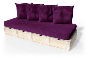 Panchina cubo 200 cm + futon + cuscini