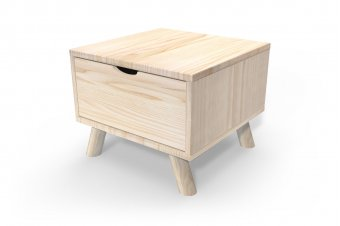 Comodino scandinavo legno Viking + cassetto