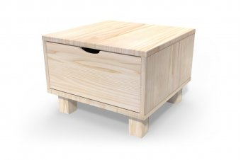 Comodino Cubo + cassetti legno