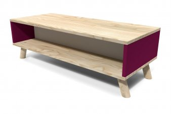 Table Basse Viking rectangulaire Scandinave Prune et Gris souris