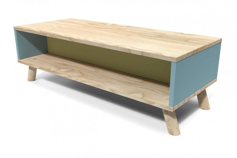 Table Basse Scandinave rectangulaire Viking Bleu pastel et Jaune