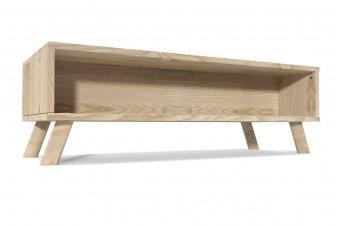 Table Basse Viking rectangulaire Scandinave bois naturel et blanc