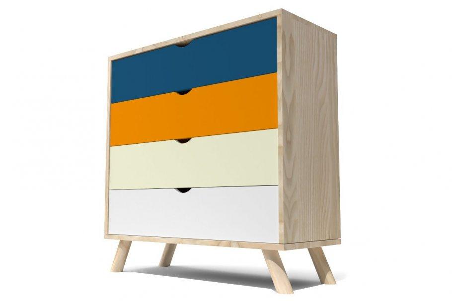 Commode style scandinave Bleu pétrole Orange Ivoire et Blanc