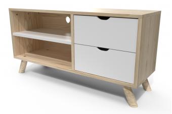 Meuble TV style scandinave bois naturel et blanc