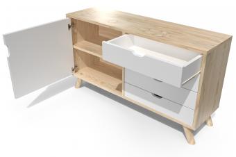 Buffet viking style scandinave en bois naturel et blanc