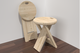 Taburete plegable de madera
