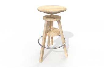 Barhocker aus Holz mit Schraube
