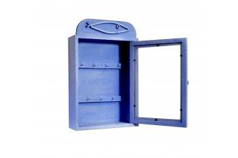 Boite à clefs Azur bleu patine en bois