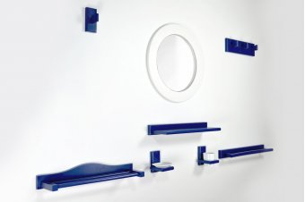 Kit salle de bain et WC bois bleu