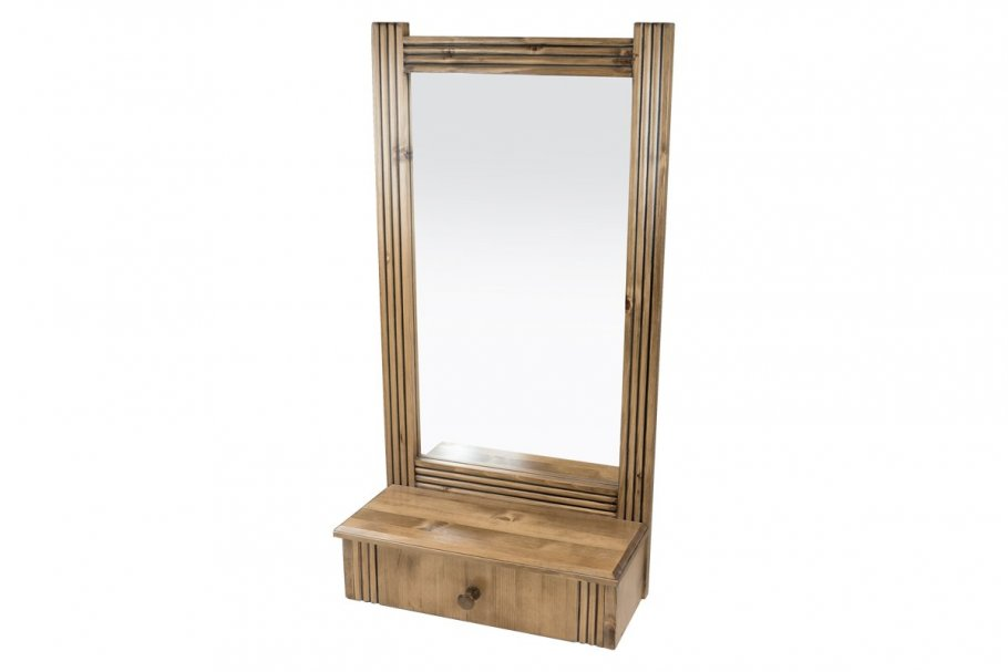 Miroir mural + 1 tiroir bois