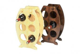 Barrel shaped wooden 6 bottle holder