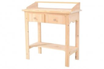 Wooden Hall console with upper shelf+ 2 drawers