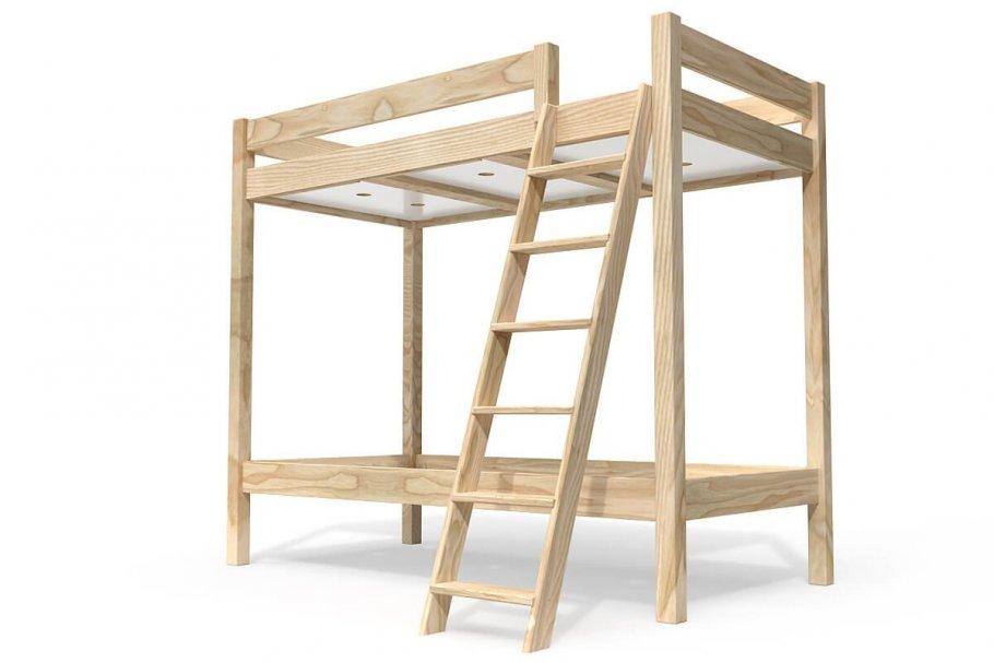 Lit superposé ABC avec échelle inclinée bois