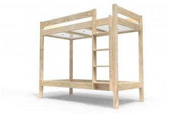 Letto a castello 90x190 ABC con scala dritta in legno