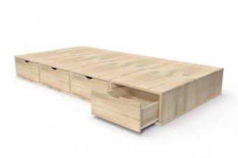 Letto 90x200 1 posto con cassetti Cube legno