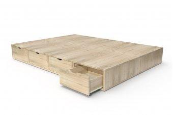 Lit Cube blanc/Tiroirs couleur - 2places