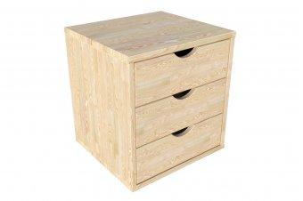 Block 3 Schubladen Massivholz