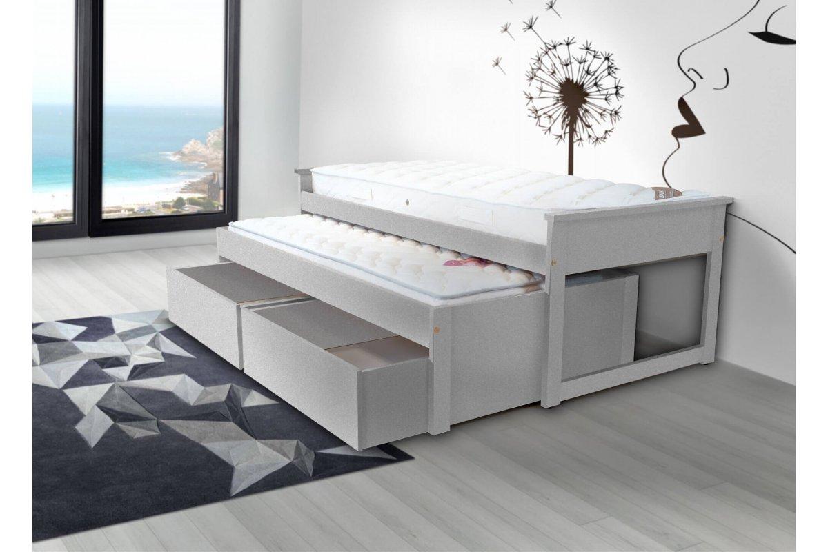 Lit gigogne 90 x 200 cm tiroirs 2 matelas abc meubles - Lit gigogne 90 x 200 ...