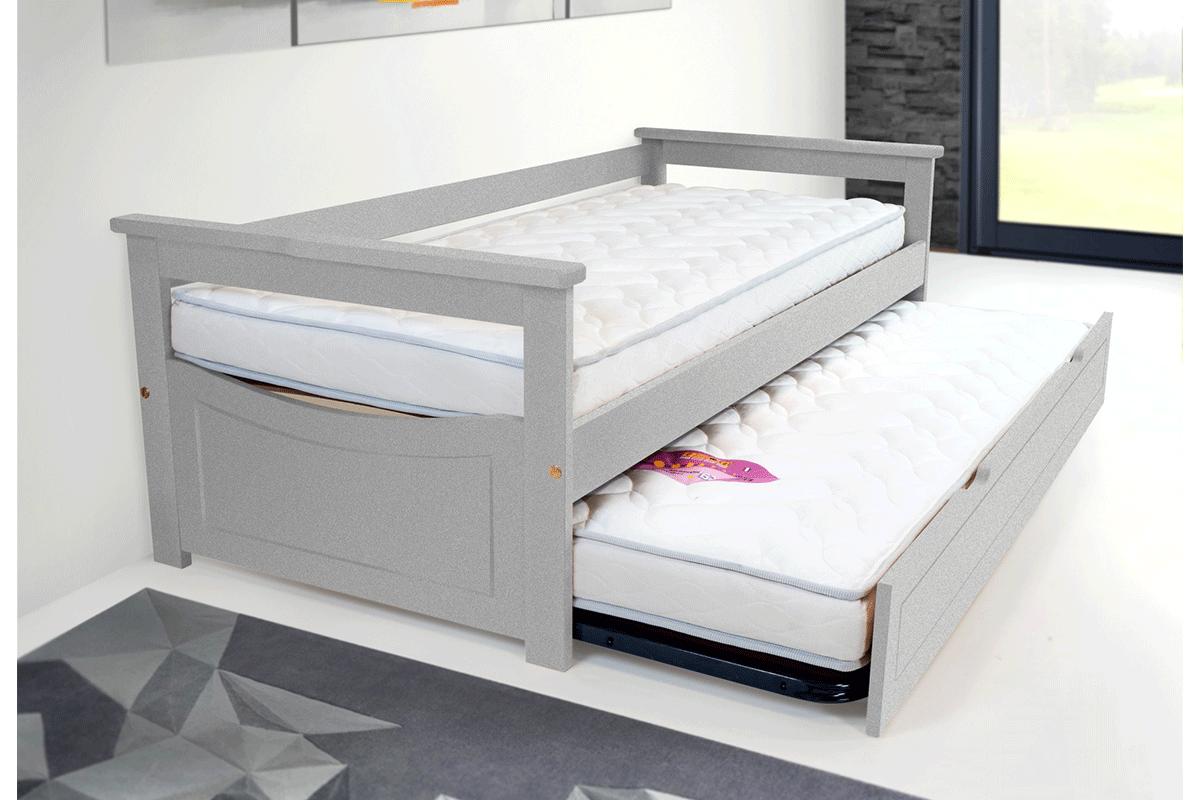 Lit gigogne topaze 80 x 190 cm 2 matelas abc meubles for Lit pin massif