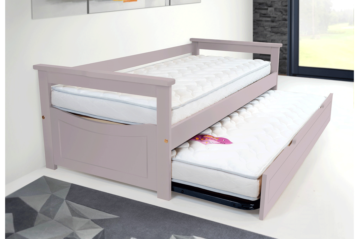 Living Home Solid Wood Bunk Bed With Drawers