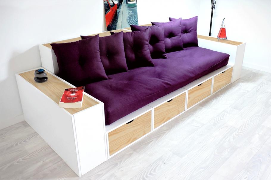 Canap cubes blanc tiroirs couleur avec futon et coussins abc m for Meuble qui a plusieurs tiroirs