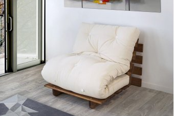 Banquette convertible futon BZ Shuto Sapin massif 90 x 190 cm