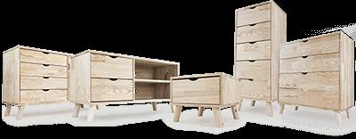 Skandinavisches Holz-Schlafzimmer und Wohnzimmer