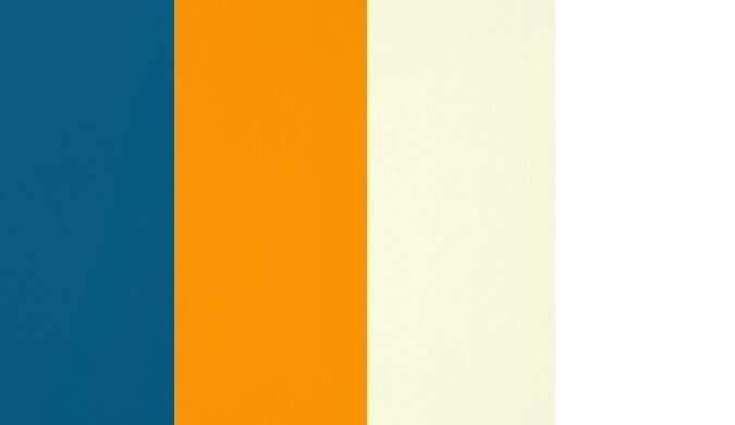 Bleu pétrole, Orange, Ivoire, Blanc